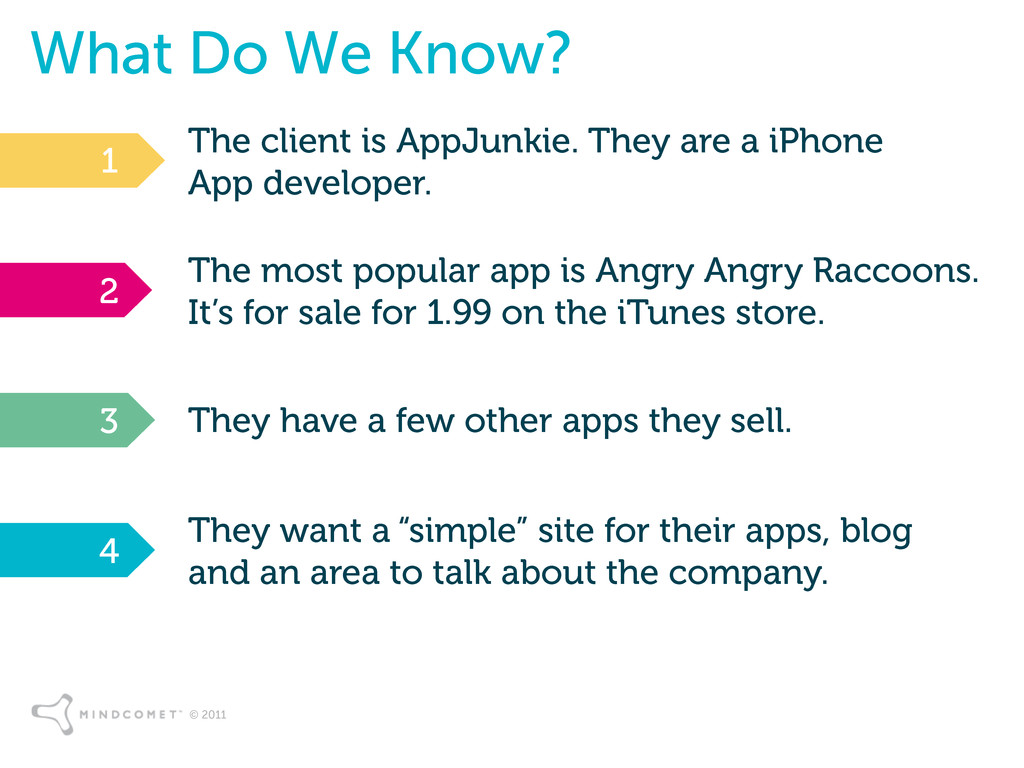 © 2011 What Do We Know? The client is AppJunkie...