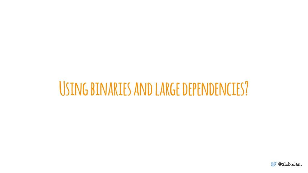 @slobodan_ Using binaries and large dependencie...