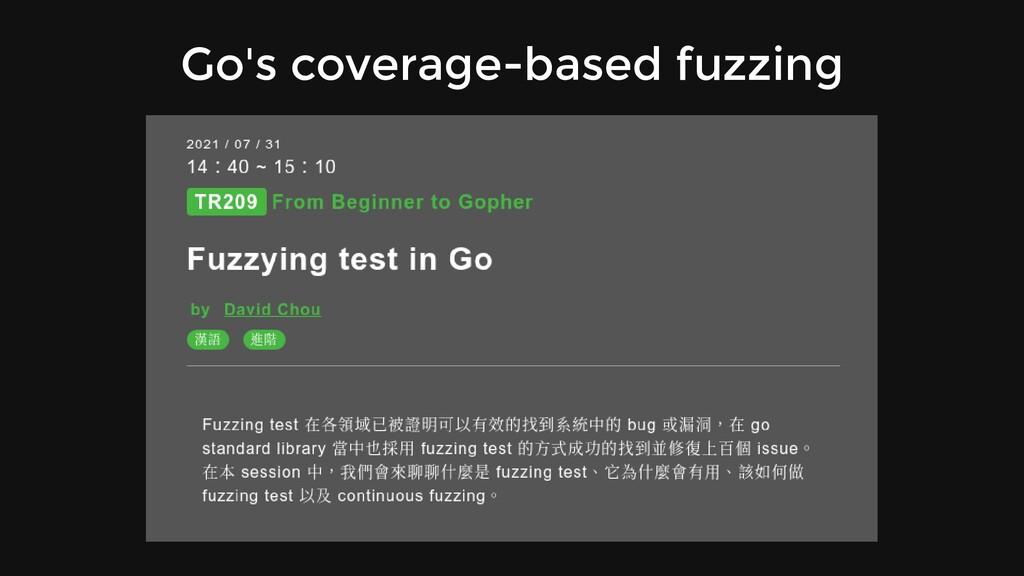 Go's coverage-based fuzzing