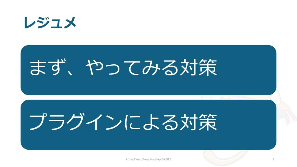 レジュメ まず、やってみる対策 プラグインによる対策 Kansai WordPress Mee...