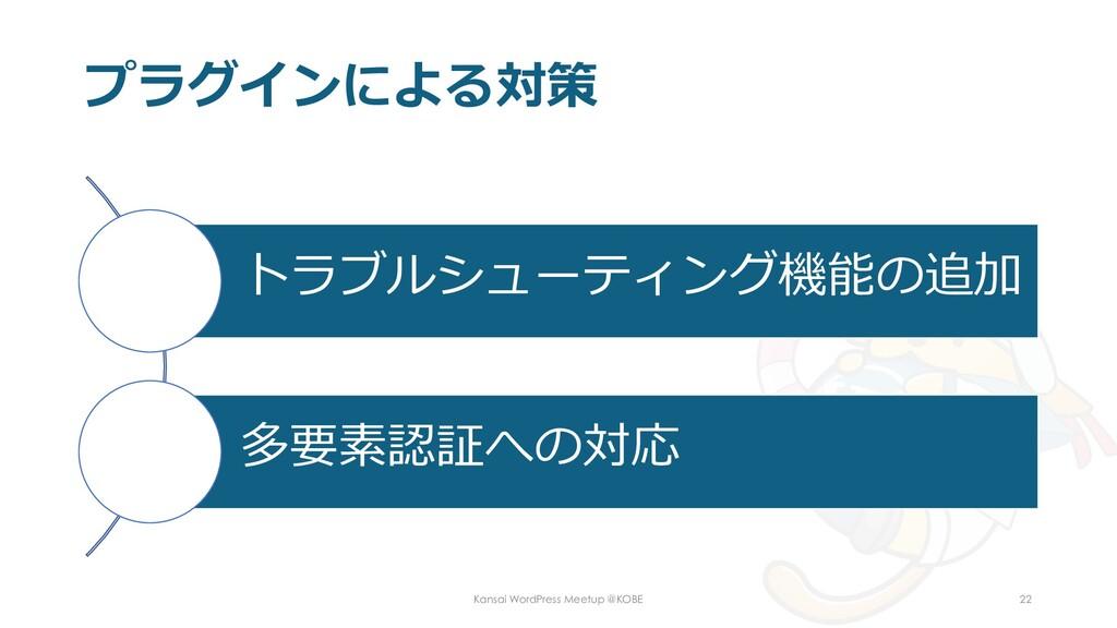 プラグインによる対策 トラブルシューティング機能の追加 多要素認証への対応 Kansai Wo...
