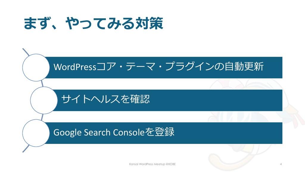 まず、やってみる対策 WordPressコア・テーマ・プラグインの自動更新 サイトヘルスを確認...