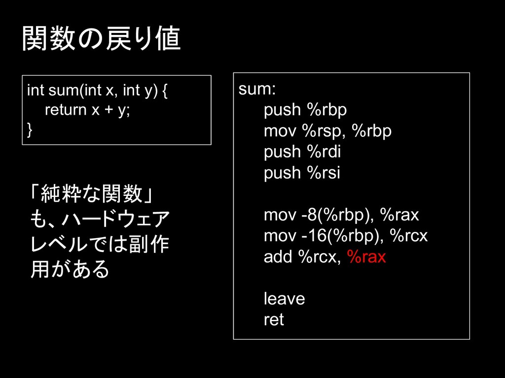 関数の戻り値 int sum(int x, int y) { return x + y; } ...