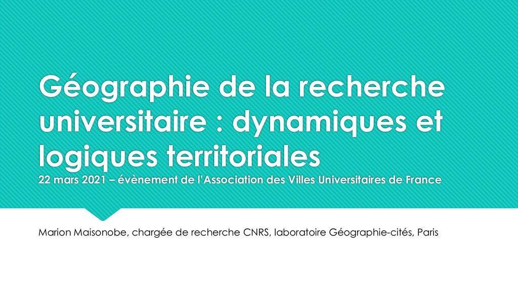 Géographie de la recherche universitaire : dyna...