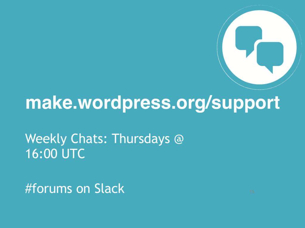 15 make.wordpress.org/support Weekly Chats: Thu...