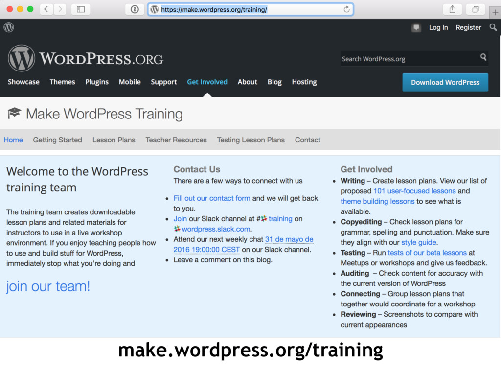 make.wordpress.org/training
