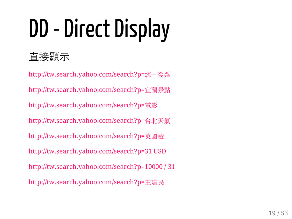 18 / 53 DD - Direct Display 直接顯示 http://tw.sear...