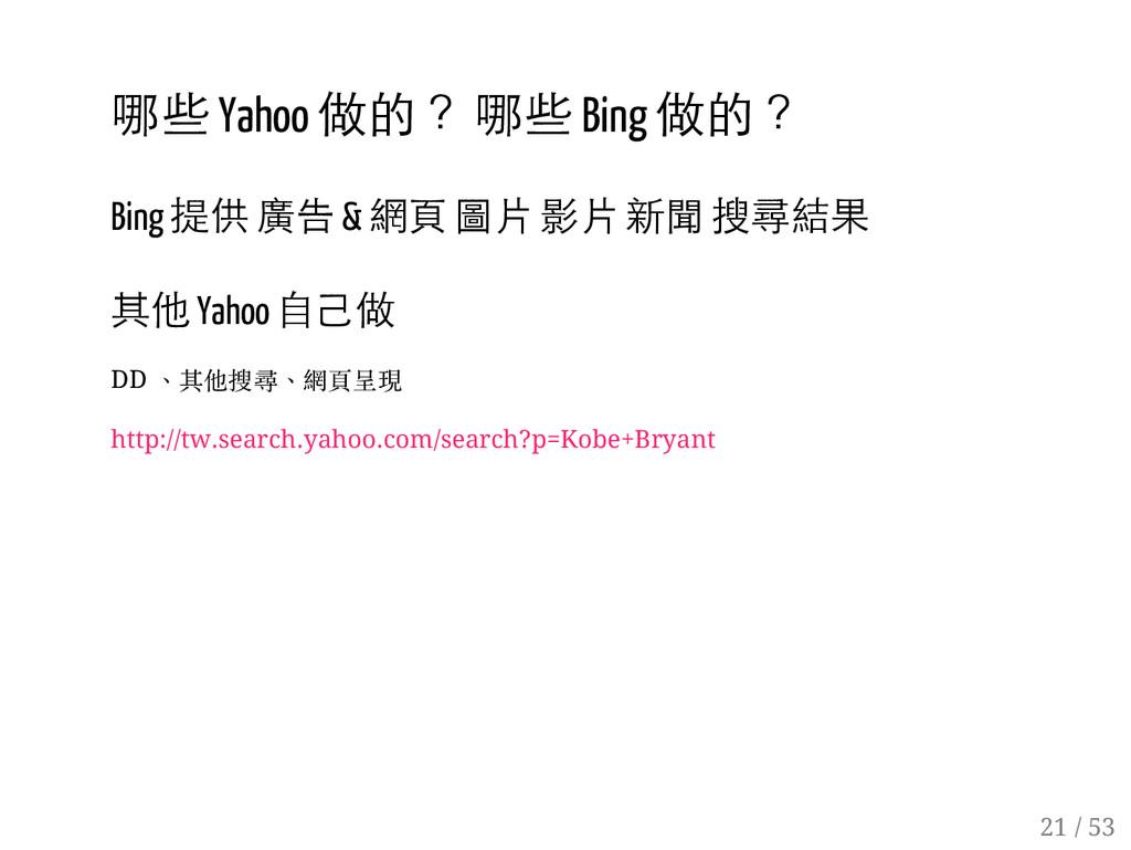 20 / 53 哪些 Yahoo 做的? 哪些 Bing 做的? Bing 提供 廣告 & 網...