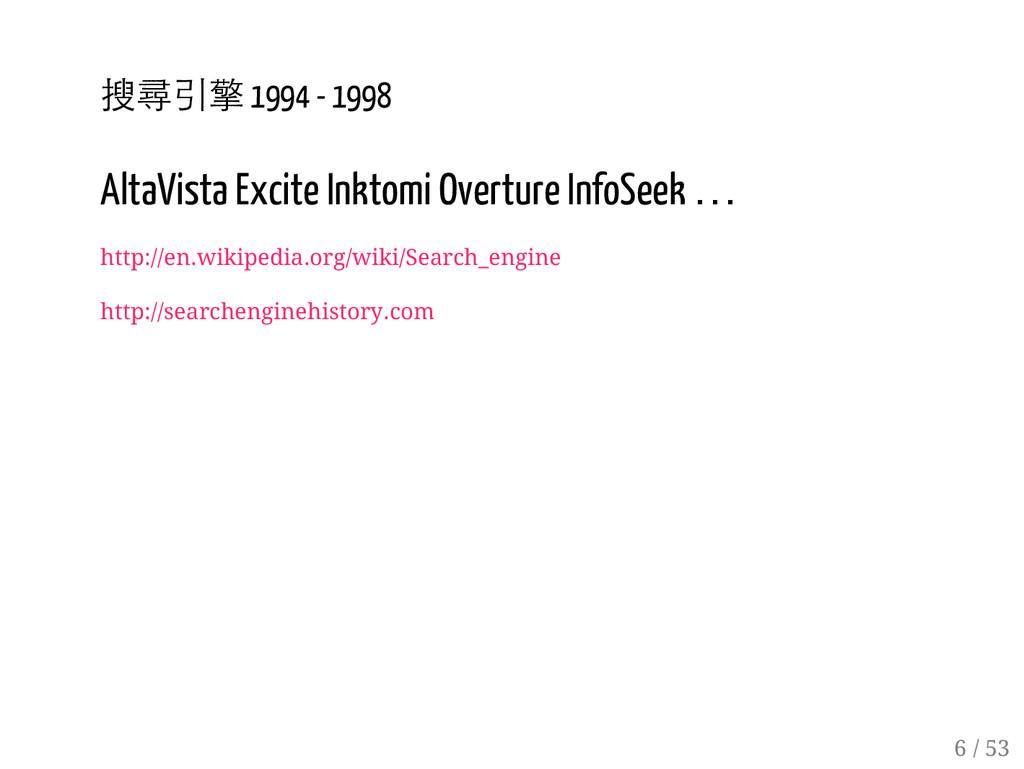 5 / 53 搜尋引擎 1994 - 1998 AltaVista Excite Inktom...