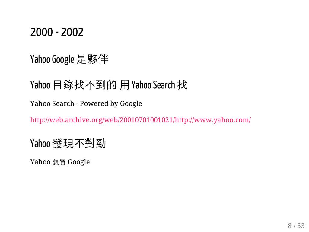 7 / 53 2000 - 2002 Yahoo Google 是夥伴 Yahoo 目錄找不到...