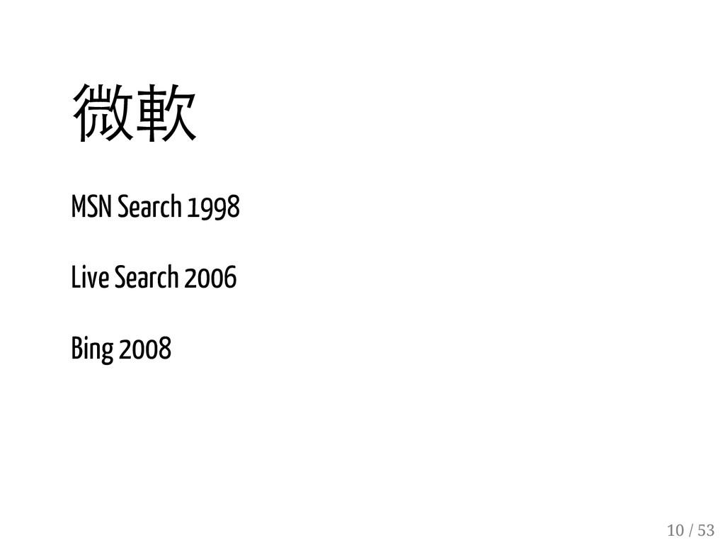 9 / 53 微軟 MSN Search 1998 Live Search 2006 Bing...