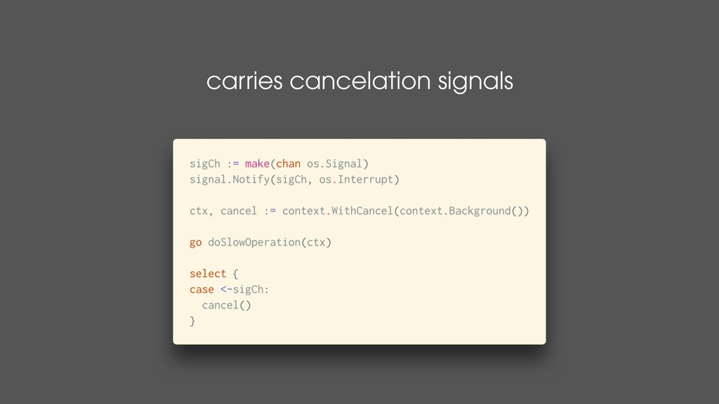 carries cancelation signals