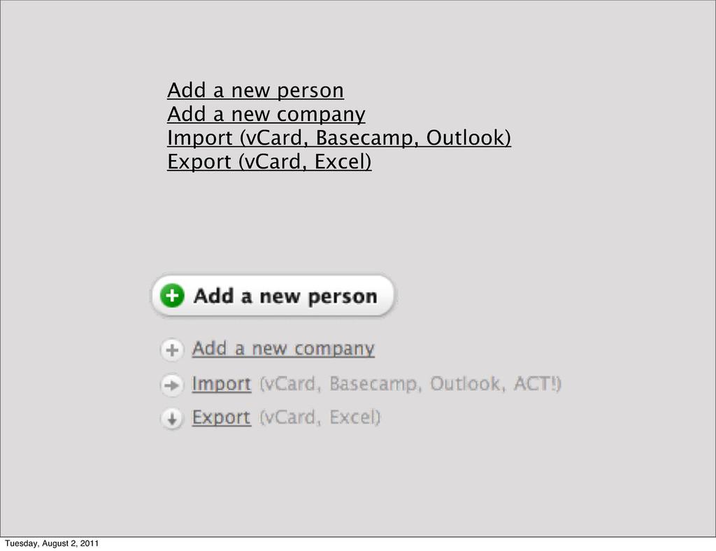 Add a new person Add a new company Import (vCar...