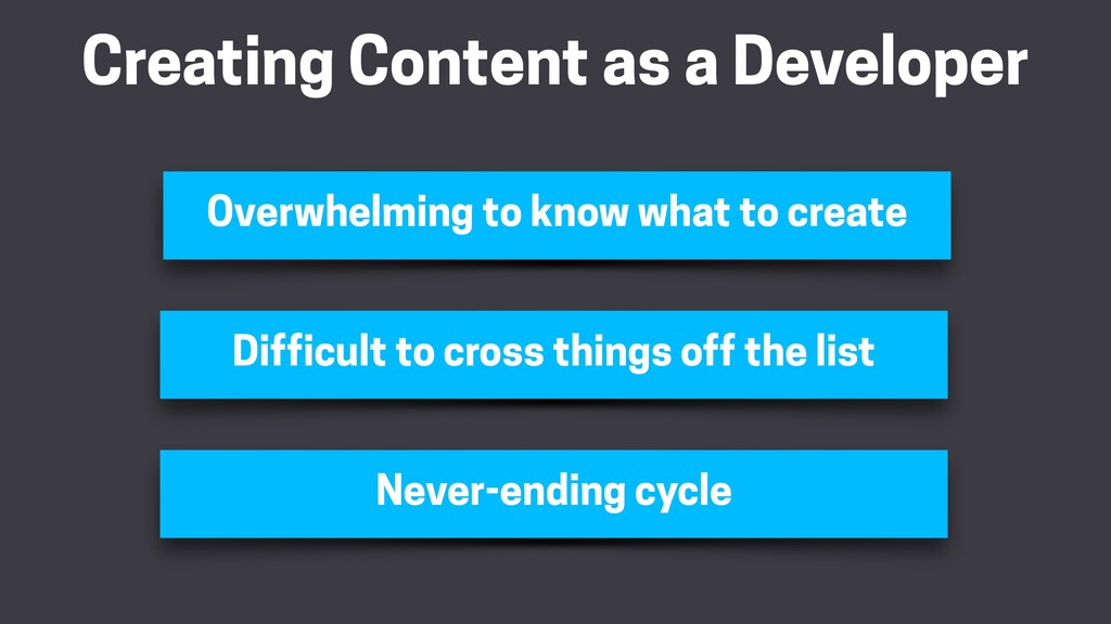 Creating Content as a Developer Overwhelming to...