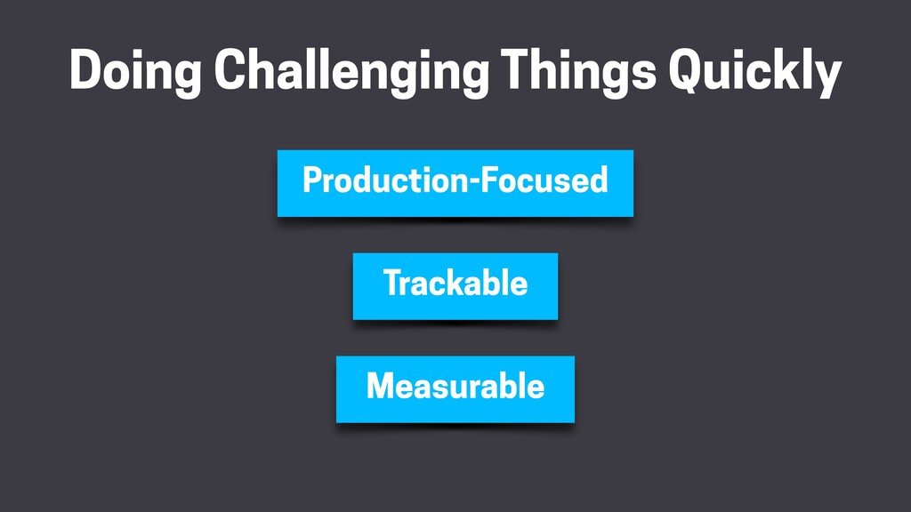 Doing Challenging Things Quickly Trackable Meas...