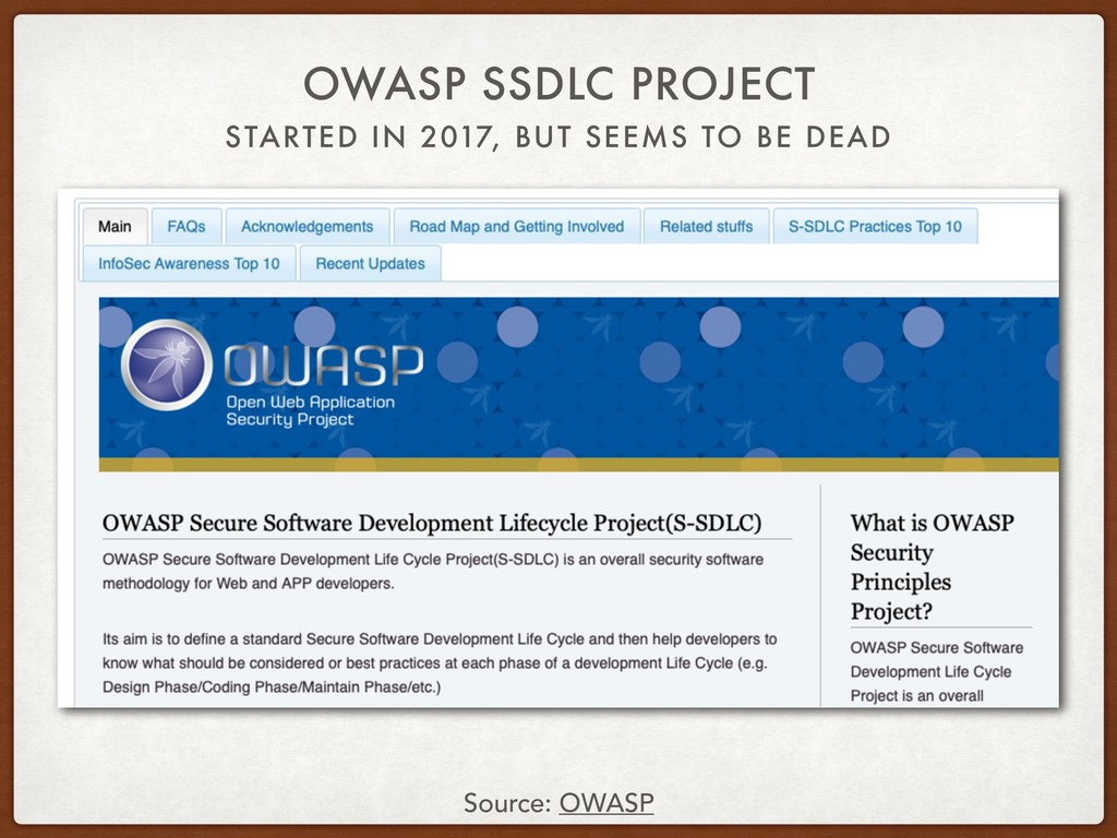STARTED IN 2017, BUT SEEMS TO BE DEAD OWASP SSD...
