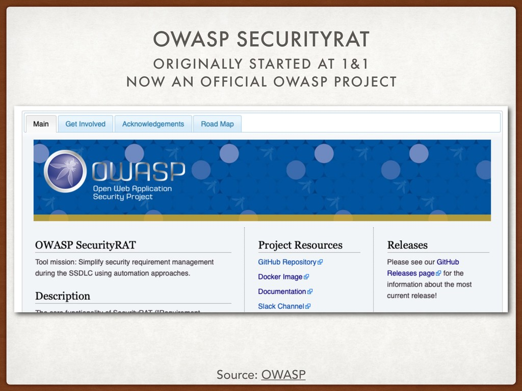 ORIGINALLY STARTED AT 1&1 NOW AN OFFICIAL OWASP...