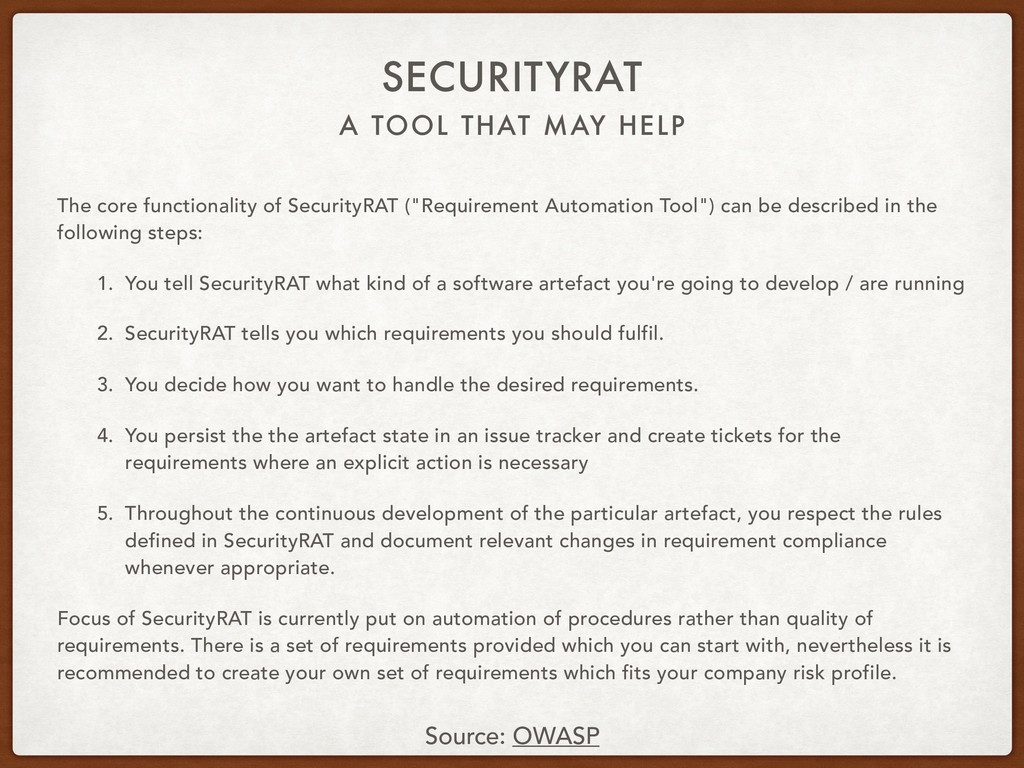 A TOOL THAT MAY HELP SECURITYRAT The core funct...
