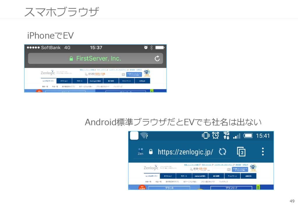 スマホブラウザ 49 iPhoneでEV Android標準ブラウザだとEVでも社名は出ない