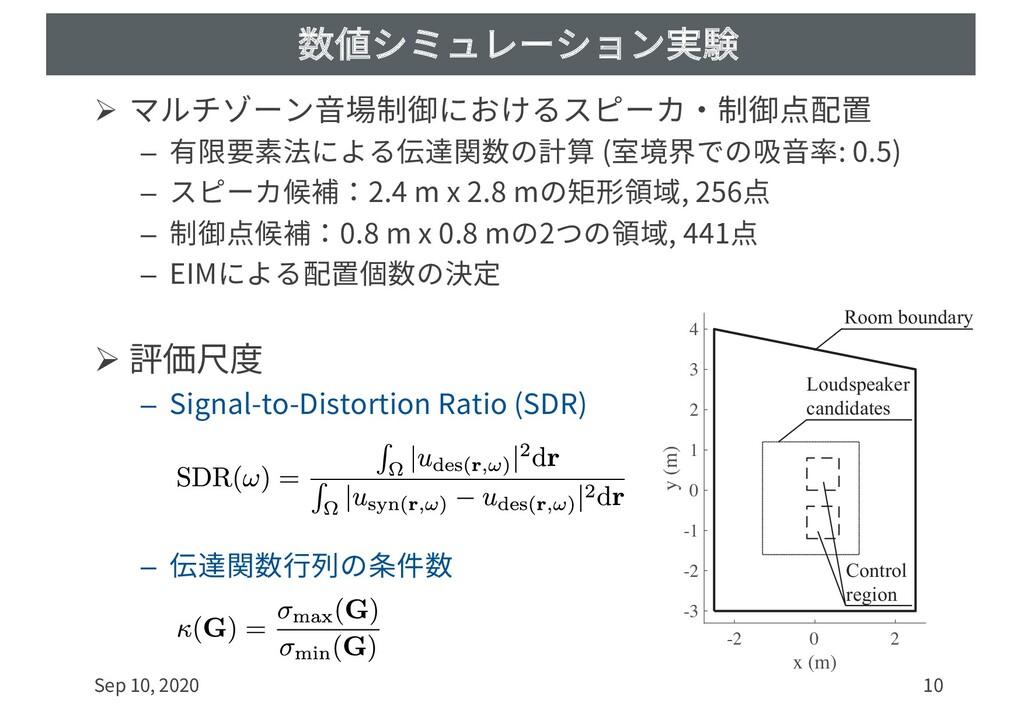 数値シミュレーション実験 Ø マルチゾーン⾳場制御におけるスピーカ・制御点配置 – 有限要素法...