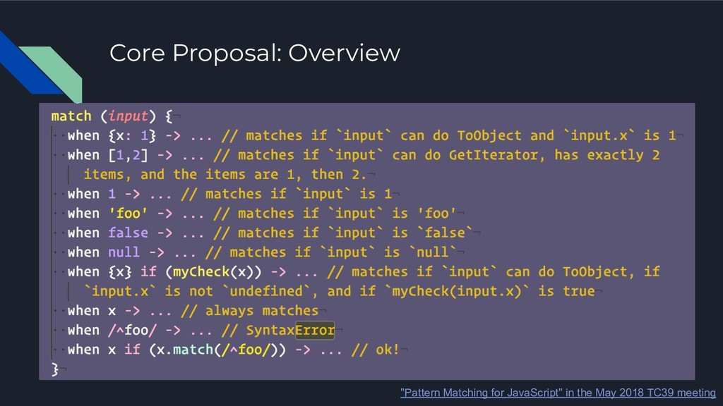 """Core Proposal: Overview """"Pattern Matching for J..."""