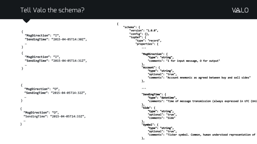 "Tell Valo the schema? { ""schema"": { ""version"": ..."