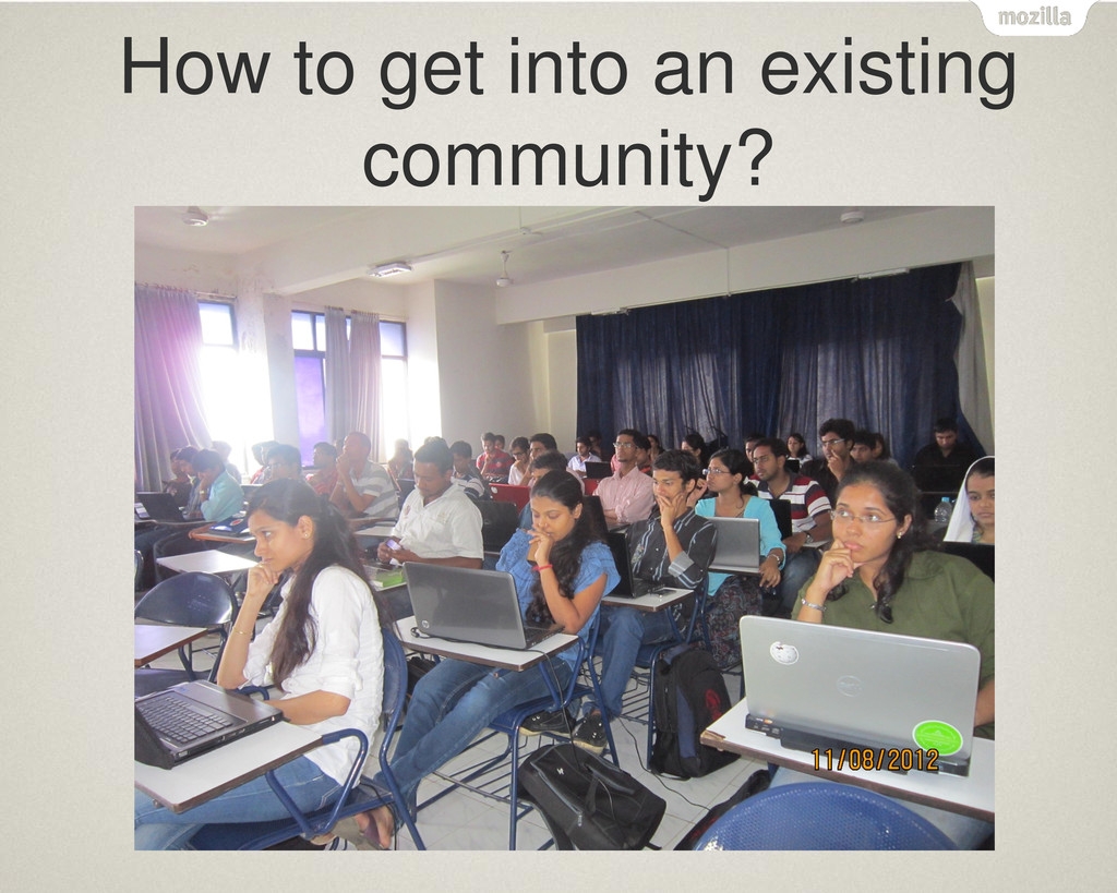 How to get into an existing community?