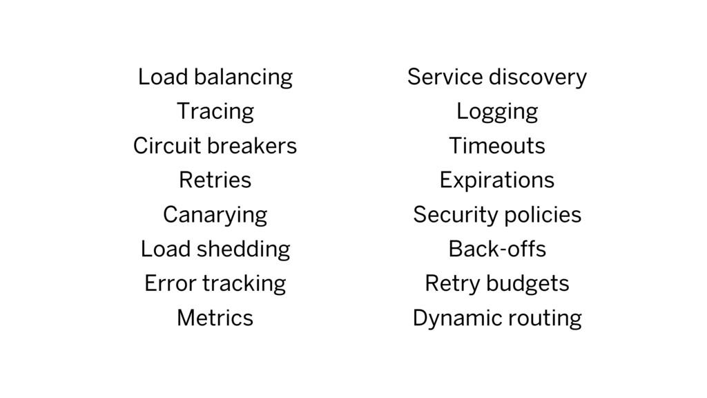 Load balancing Tracing Circuit breakers Retries...