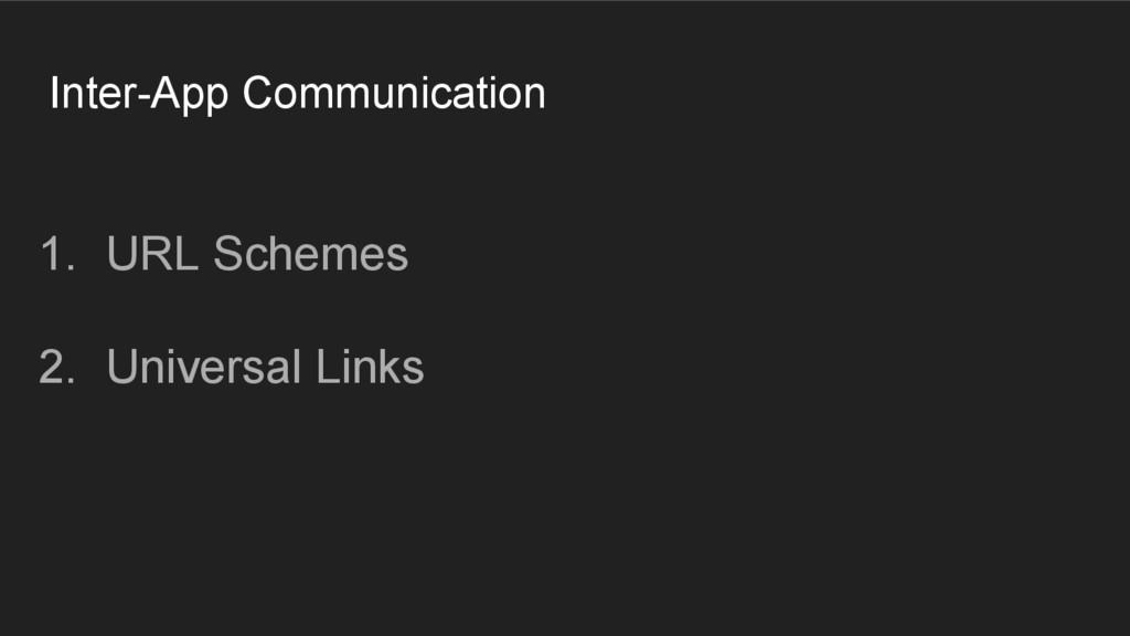 Inter-App Communication 1. URL Schemes 2. Unive...