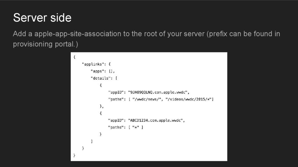Server side Add a apple-app-site-association to...