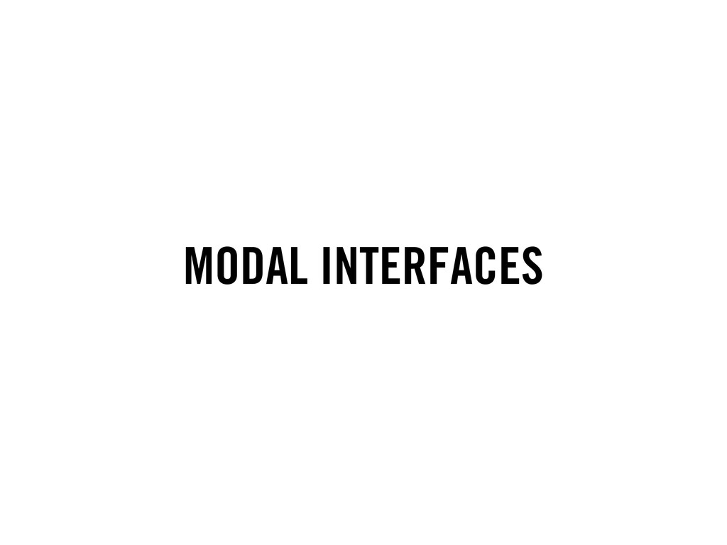 MODAL INTERFACES