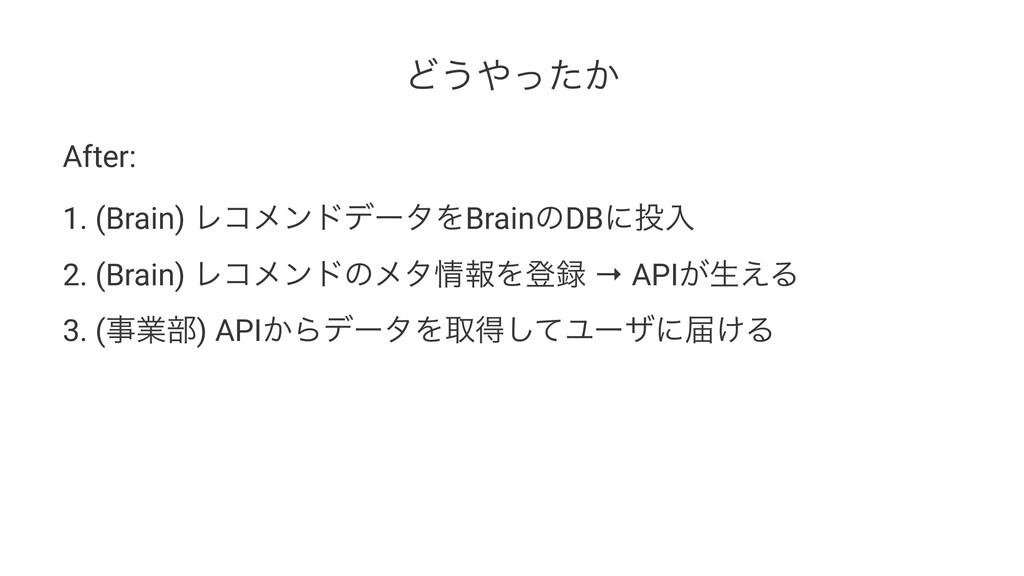 Ͳ͏͔ͬͨ After: 1. (Brain) ϨίϝϯυσʔλΛBrainͷDBʹೖ 2...