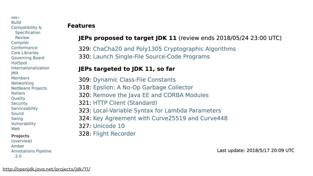 http://openjdk.java.net/projects/jdk/11/
