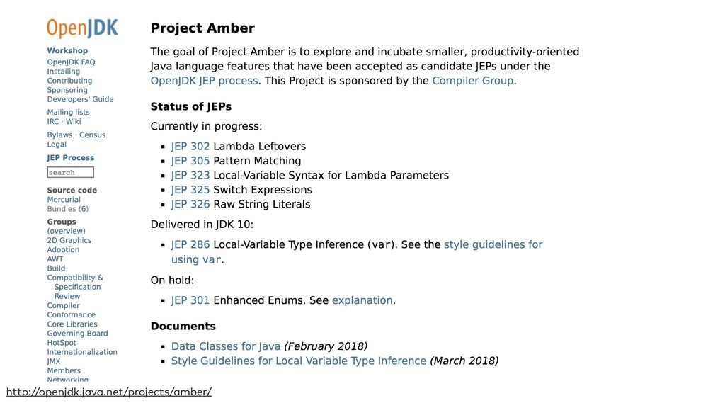 http://openjdk.java.net/projects/amber/