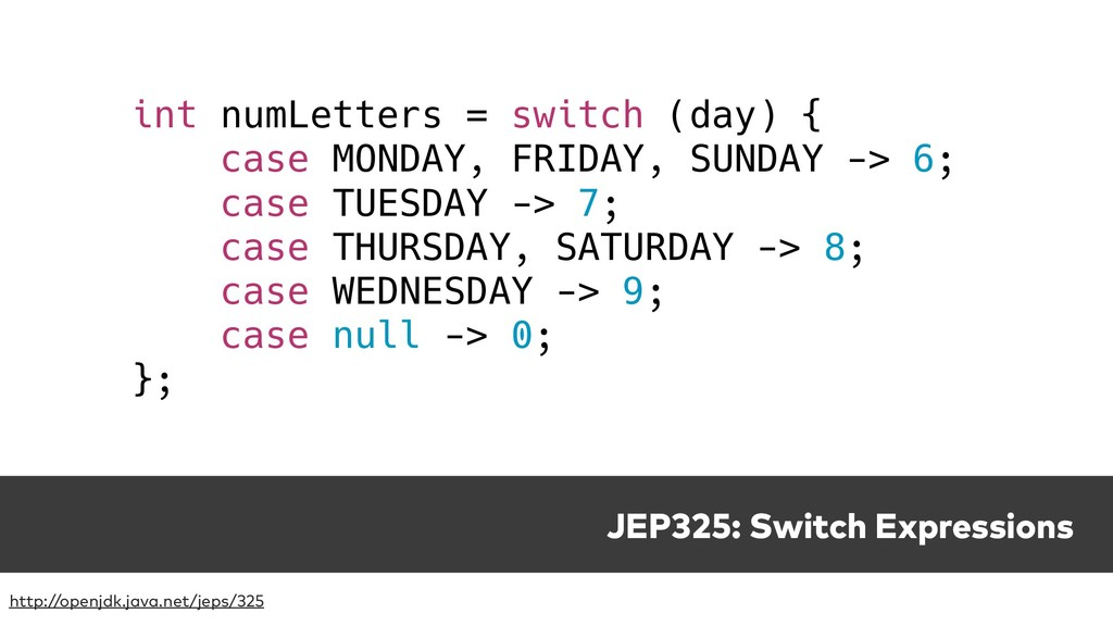 JEP325: Switch Expressions http://openjdk.java....