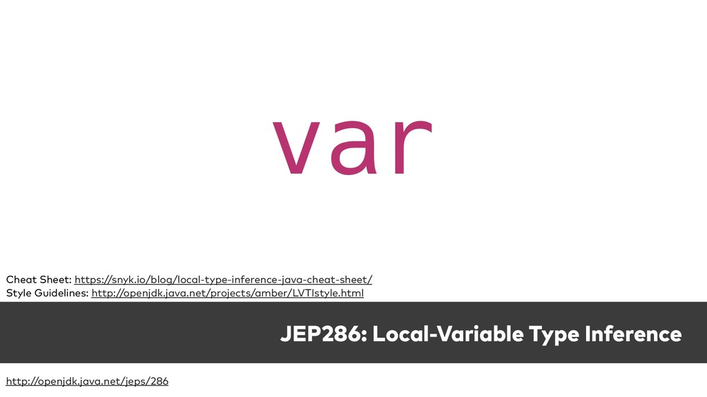 JEP286: Local-Variable Type Inference var Cheat...