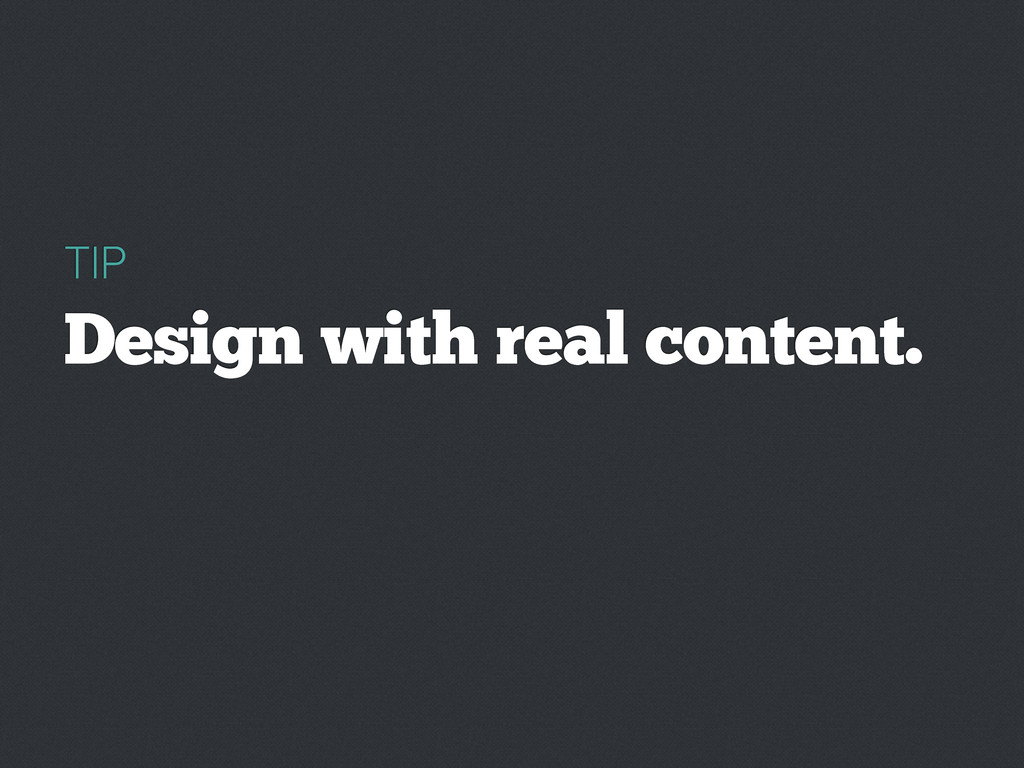 TIP Design with real content.