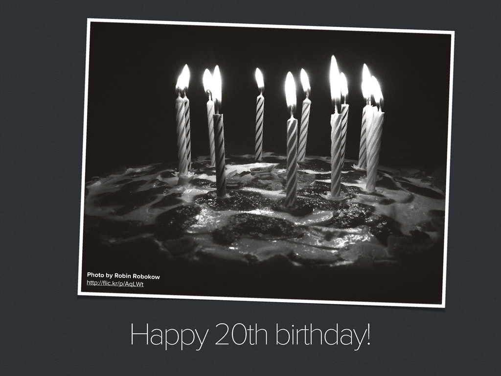 Happy 20th birthday! Photo by Robin Robokow htt...