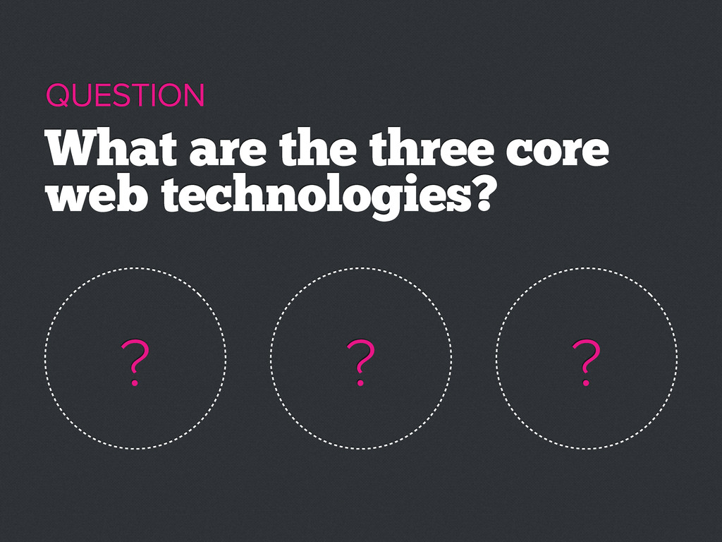 What are the three core web technologies? QUEST...