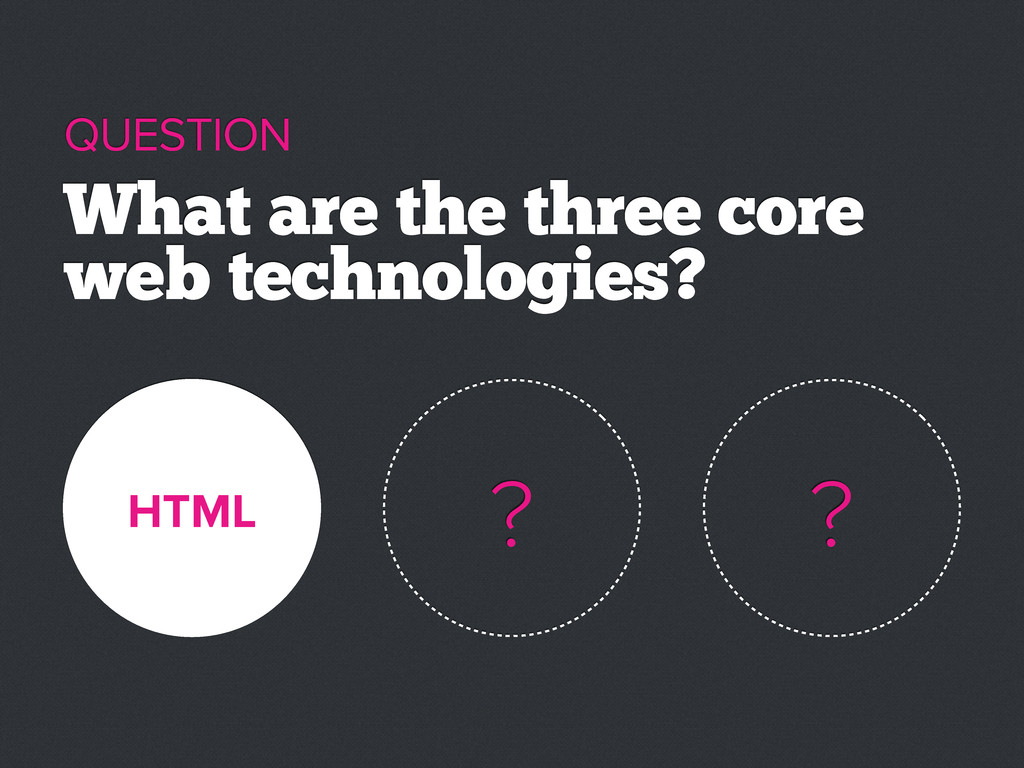 HTML What are the three core web technologies? ...