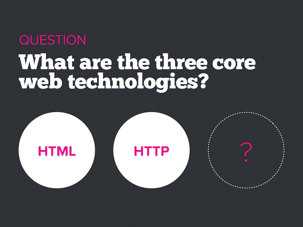 HTML HTTP What are the three core web technolog...
