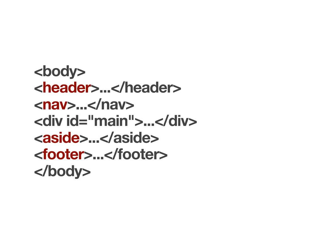 <body> <header>...</header> <nav>...</nav> <div...