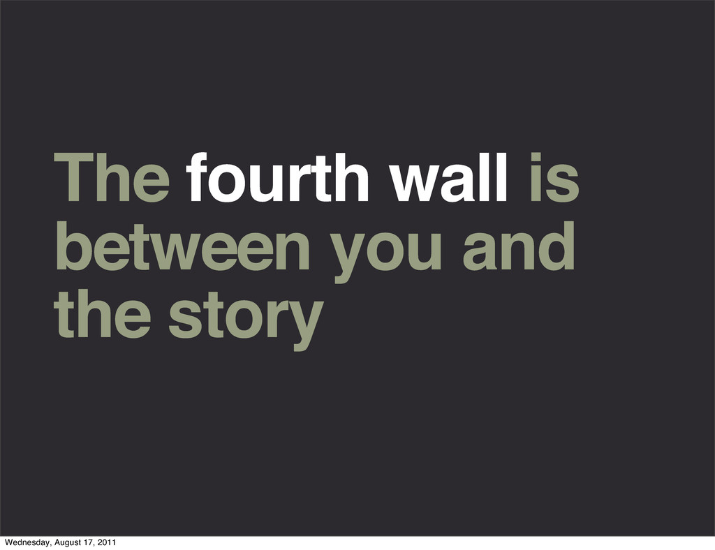 The fourth wall is between you and the story We...