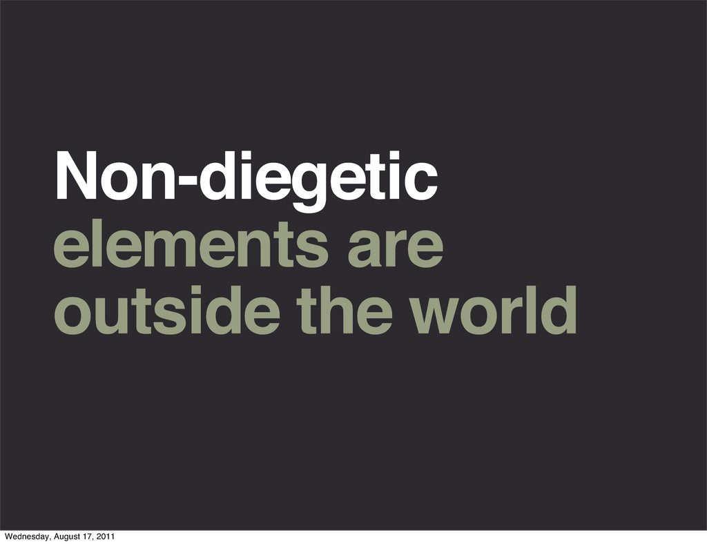 Non-diegetic elements are outside the world Wed...