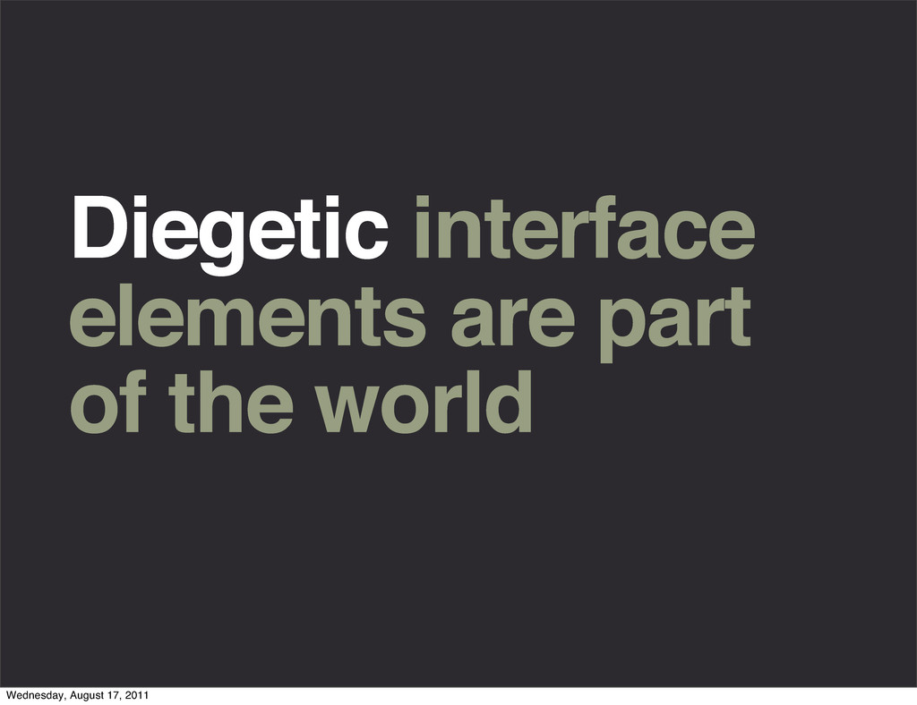 Diegetic interface elements are part of the wor...
