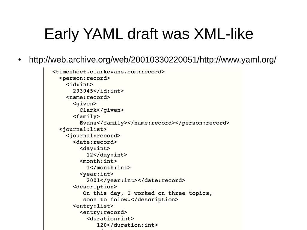 Early YAML draft was XML-like ● http://web.arch...