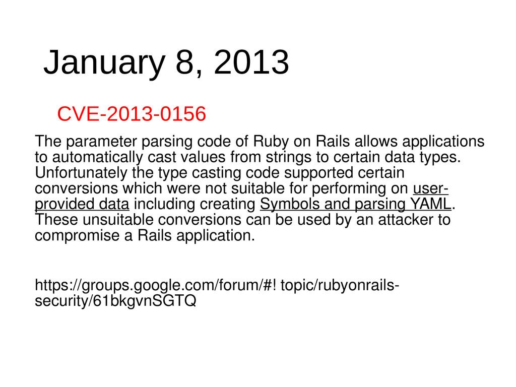 January 8, 2013 CVE-2013-0156 The parameter par...