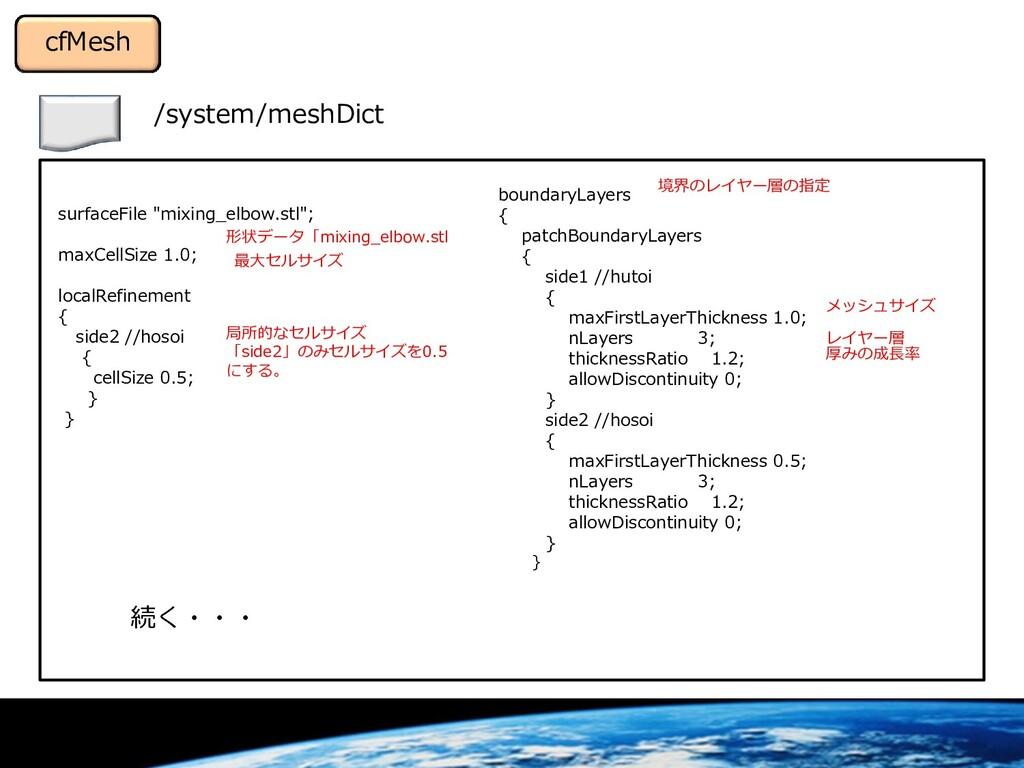 """/system/meshDict cfMesh surfaceFile """"mixing_elb..."""