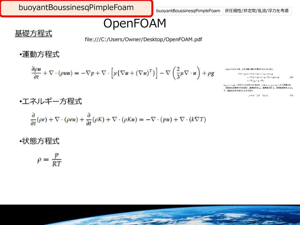 buoyantBoussinesqPimpleFoam 非圧縮流体 OpenFOAM 基礎方程...