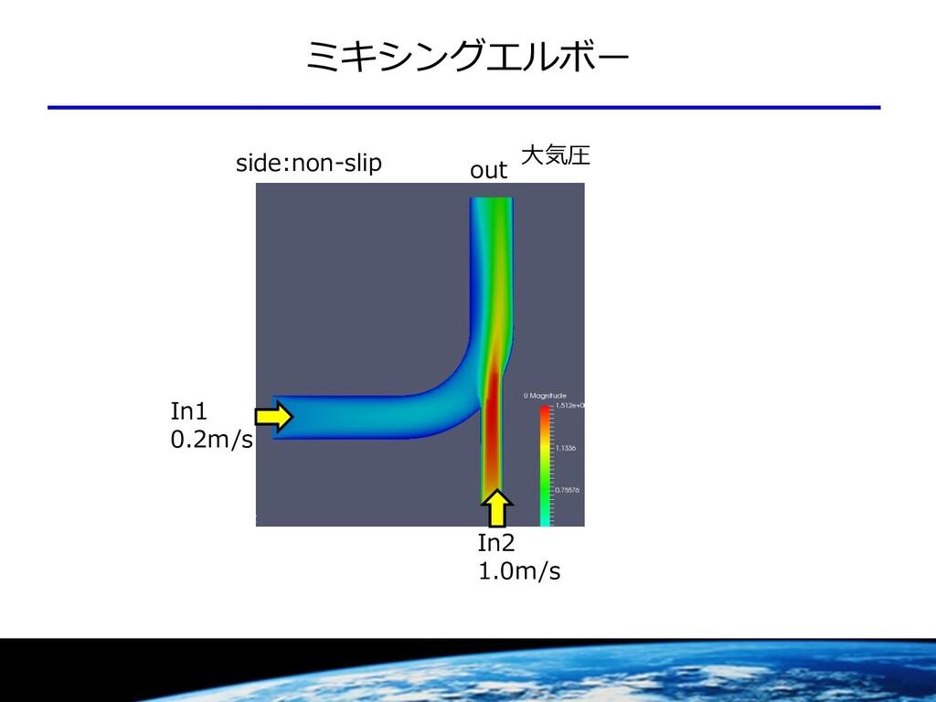 ミキシングエルボー out In1 0.2m/s In2 1.0m/s 大気圧 side:no...